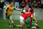 <br /> Corofin's, Padraic Kelly and David Morris,<br /> and<br /> Tuam Stars, Shane Gaffney,<br /> during the County Senior Football Championship Final<br /> at Tuam Stadium.<br />