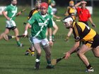 <br /> Moycullen's, Conor Bohan,<br /> and<br /> Four Roads, Daren Fallon,<br /> during the Connacht Intermediate Club Hurling Championship Final at Athleague.