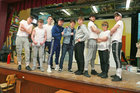 "Colaiste Iognaid students during rehearsals for their musical ""Hot House"". The in-house production will run in the Jesuit Hall at the school in Sea Road from Tuesday March 13 to Thursday March 15. From left: Cathal Forde, Sean Thornton, Cian McHale, Liam Kilkenny, John Flannery, Rory O'Flynn, Ciaran Anthony, Dwain Rowe and Robert Shannon."