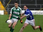<br /> Kilconly's, John Paul Steede,<br /> and<br /> Oughterard's, Daniel Tuck,<br /> during the Intermediate Football Championship Final<br /> Replay at Pearse Stadium.<br />