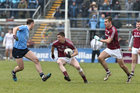 Galway v Dublin Allianz Football League Division 1 game at the Pearse Stadium.<br /> Galway's Johnny Heaney and Cathal Sweeney and Dublin's Cormac Costello