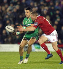 Connacht v Munster Guinness PRO12 game at the Sportsground.<br /> Connacht's Tiernan O'Halloran and Munster's Keith Earls