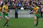 <br /> Corofin's, Kieran Fitzgerald and Dathi Burke,<br /> during the County Senior Football Championship Final<br /> at Tuam Stadium.<br />
