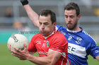 Tuam Stars v Killannin Senior Football Championship game at the Pearse Stadium.<br /> Jamie Murphy, Tuam Stars and Edwin Murray, Killannin