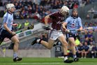 Galway's, Padraig Brehony,<br /> and<br /> Dublin's, Matthew McCaffrey and Eric Lowndes,<br /> during the All-Ireland Minor Hurling Championship Final.<br />