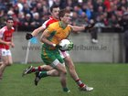 <br /> Corofin's, Kieran Fitzgerald,<br /> and<br /> Tuam Stars, Jamie Murphy,<br /> during the County Senior Football Championship Final<br /> at Tuan Stadium.<br />