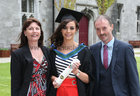Jessica Donlon from Loughrea, with her parents Brian and Philomena after she was conferred with the degree of M.A in Social Work at NUI Galway