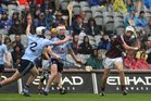 Galway's, Dean Higgins,<br /> and<br /> Dublin's, Eric Lowndes and Colm Cronin,<br /> during the All-Ireland Minor Hurling Championship Final.<br />