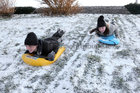 Conor and Cliona McLoughlin from Salthill having fun in the snow at Salthill Park in Galway on Thursday.  Photograph: Joe O'Shaughnessy. 1/3/2018