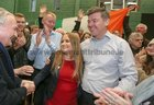 Galway West Sinn Fein Candidate Miaread Farrell celebrates with supporters after her election.