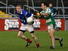 <br /> Kilconly's, Damien Concannon,<br /> and<br /> Oughterard's, Eddie O'Sullivan,<br /> during the Intermediate Football Championship Final<br /> Replay at Pearse Stadium.<br />
