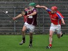 <br />  Clarinbridge's, Stephen Forde,<br />  and<br />  St. Thomas, Cathal Burke,<br />  during the Senior Hurling Championship at Athenry.<br />