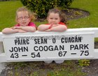 Aimee Stewart and Rhianna O'Reilly, at the John Coogan Park, 35th birthday celebrations
