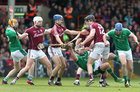 Galway v Limerick Allianz Hurling League semi-final in Limerick.<br /> Galway's Joseph Cooney, Johnny Coen and Joe Canning, and Limerick's Seamus Hickey, Richie McCarthy and Richie English