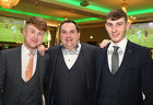 Galway Bay FM Head of Sport Ollie Turner, centre, with players Ciaran Hanley, left, and Matthew Tierney at Oughterard GAA Victory Social in the Salthill Hotel.