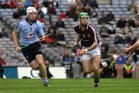 <br /> Galway's, Gerard O'Donoghue,<br /> and<br /> Dublin's, Matthew McCaffrey,<br /> during the All-Ireland Minor Hurling Championship Final.<br />