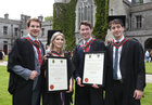 Doctors Darragh Coffey, Bandon, Niamh Lang, Clarenbridge, Niall Hanley, Ballinderreen, and Jack Dunne, Dunmore, after they were conferred with the degrees of Honours Bachelor of Medicine, Bachelor of Surgery and Bachelor of Obstetrics (MB BCh BAO) at NUI Galway.