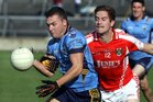 Salthill-Knocknacarra's, Conor Halloran,<br /> and<br /> Tuam Stars, Gary O'Donnell,<br /> during the Senior Football Championship semi-final<br /> at Pearse Stadium.<br />