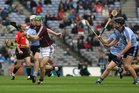 Galway's, Gerard O'Donoghue,<br /> and<br /> Dublin's, Matthew McCaffrey, James Desmond and Sean McClelland,<br /> during the All-Ireland Minor Hurling Championship Final.<br />