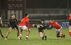 Connacht v Munster Guinness PRO14 game at the Sportsground.<br /> Connacht's Alex Wootton and Ben O'Donnell and Munster's Chris Farrell and Damian De Allende