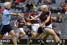 Galway's, Padraig Brehony,<br /> and<br /> Dublin's, Matthew McCaffrey,<br /> during the All-Ireland Minor Hurling Championship Final.<br />