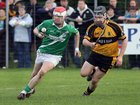 <br /> Moycullen's, Philip Lydon,<br /> and<br /> Four Roads, Mark McLoughlin,<br /> during the Connacht Intermediate Club Hurling Championship Final at Athleague.