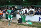 Connacht captain John Muldoon proudly carries his 4 year old niece, Emma Muldoon from Gortanumera, before his 300th appearance for the province at the Sportsground last saturday. Emma and Archie Naughton from Creggs were Connacht's mascots for the game.