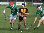 <br /> Moycullen's, Conor Bohan and Christopher Hurney,<br /> and<br /> Four Roads, Daren Fallon,<br /> during the Connacht Intermediate Club Hurling Championship Final at Athleague.