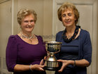 <br />  Joan Kavanagh presenting the Allen Cup to Gwen Quaid, (left), winner of  the  2011 Past Lady Captains Competition at the Galway Golf Club.<br />