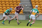 Galway v Offaly Allianz Hurling League Division 1B game at O'Connor Park, Tullamore.<br /> Galway's Conor Cooney and Offaly's Danny Maloney and Michael Cleary