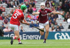 Galway v Cork All-Ireland Minor Hurling Championship final at Croke Park.<br /> Galway's Caimin Killeen and Cork's Aaron Walsh Barry