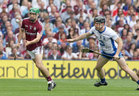 Galway v Waterford All-Ireland Senior Hurling Championship final at Croke Park.<br /> Galway's David Burke and Waterford's Kevin Moran