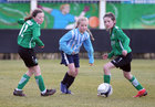 Salthill Devon B v Colemanstown United Under 12 Girls Division 1 Cup final at Eamonn Deacy Park.<br /> Blaithin Keane and Eva Molloy, Colemanstown United, and Clara Glynn, Salthill Devon