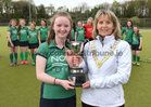 Greenfields v Athlone Connacht Junior Cup Hockey final at Dangan.<br /> Riona Johnston, Connacht Branch President, presenting the Connacht Junior Cup to Ciara Murphy, captain of the Greenfields team which defeated Athlone 3-1 in the Connacht Junior Cup final at Dangan.