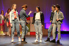 Lucy Best, Niamh Nolan, Sibéail Faherty, Andrea Shaughnesy and Katie McCairn taking part in the Salerno Secondary School musical 'Back to the 80s' at the Town Hall Theatre.