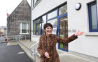 Bríd Ní Neachtain, Príomhoide, at the new building at Scoil Fhursa which opened on Monday.