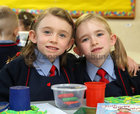 Twin sisters Katie and Matilda who have started school at Scoil Rois, Taylors Hill.