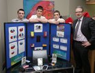 "The Bank of Ireland at Eyre Square held the Regional Finals for ""Junior Dragons Den"" 14 Regional Finalists of which 7 progressed to the National Finals. The winners of the National Finals will go in front of the Dragons and can win investment for their businesses. The Junior Dragons Den will air on RTE in early 2013."" Pictured are students from Our Lady's Secondary School, Belmullet, Liam Flannery, Christopher Sheeran, Ryan Clarke and Gerry Ring, Manager of the Bank of Ireland, Belmullet."