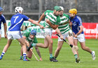 Killimordaly v Ardrahan Senior B-Group 2 hurling game in Kenny Park, Athenry.<br /> Killimordaly's Brian Concannon, David Earls and Eanna Ryan, and Ardrahan's Gerard Forde and Stephen Whelan