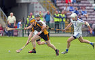 Sylane v Micheal Breathnach's Junior 1 Hurling Championship final at the Pearse Stadium.<br /> Cathal Burke, Sylane, and Cian Ó Griallais and Cian Mac Giolla Bhríde, Míchéal Breathnach's