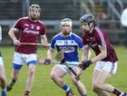 Galway v Laois 3rd round game in the Allianz National Hurling League at the Pearse Stadium.<br /> Galway's Sean Loftus and Padraic Mannion and Ross King, Laois.