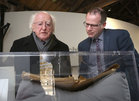 President Michael D Higgins and NUI Galway Archivist Dr Barry Houlihan at the launch of the Siobhán McKenna Archive at NUI Galway.