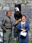 Bridie Willers, Deputy Mayor Galway County Council at the opening ceremony of the Athenry Castle Heritage Week. The bald headed eagle is called Alaska.<br /> <br /> Photo by Eibhlin Loftus Maloney