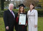 Olivia Bane from Headford, who was conferred with a B Sc Honours degree at NUI Galway, pictured with her parents Aidan and Martha.