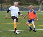 Johnny Lynagh and Johnny Norman in action during the annual COPE Galway charity match.<br />