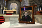 A photograph of former Bishop of Galway, Most Rev Eamonn Casey, at the alter in Galway Cathedral before the funeral Mass.