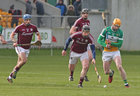 Galway v Offaly Allianz Hurling League Division 1B game at O'Connor Park, Tullamore.<br /> Galway's Pul Flaherty, Johnny Coen and Joseph Cooney and Offaly's Sean Gardiner