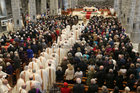The procession to the alter at Galway Cathedral before funeral Mass for Former Bishop of Galway, Most Rev Eamonn Casey.