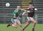 Galway v Mayo Under 20 Eirgrid Connacht GAA Under 20 Football quarter-final at McHale Park, Castlebar.<br /> Galway's Paul Kelly and Mayo's Frank Irwin