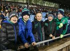 Young Oughterard supporters celebrate at the Connacht Intermediate Cup final against The Neale at MacHale Park, Castlebar.